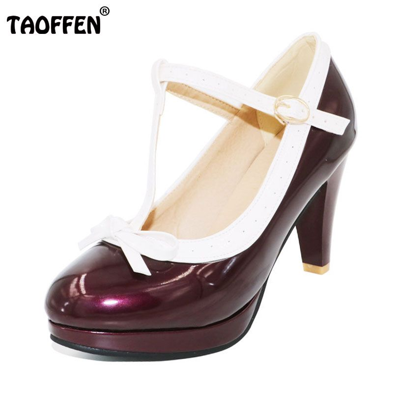 TAOFFEN Size 32-48 Women Retro Shoes Women's High Heel Pumps Sexy T Strap Summer Shoes Party Wedding Lady Heeled Shoes Footwear