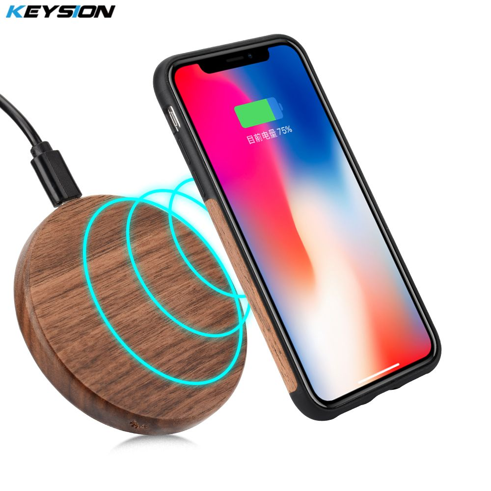 KEYSION 7.5W Qi Wireless Charger Wood fast Wireless Charger mini Charging Pad for iPhone XS Max XR 8 Plus for Samsung Note 9 S9
