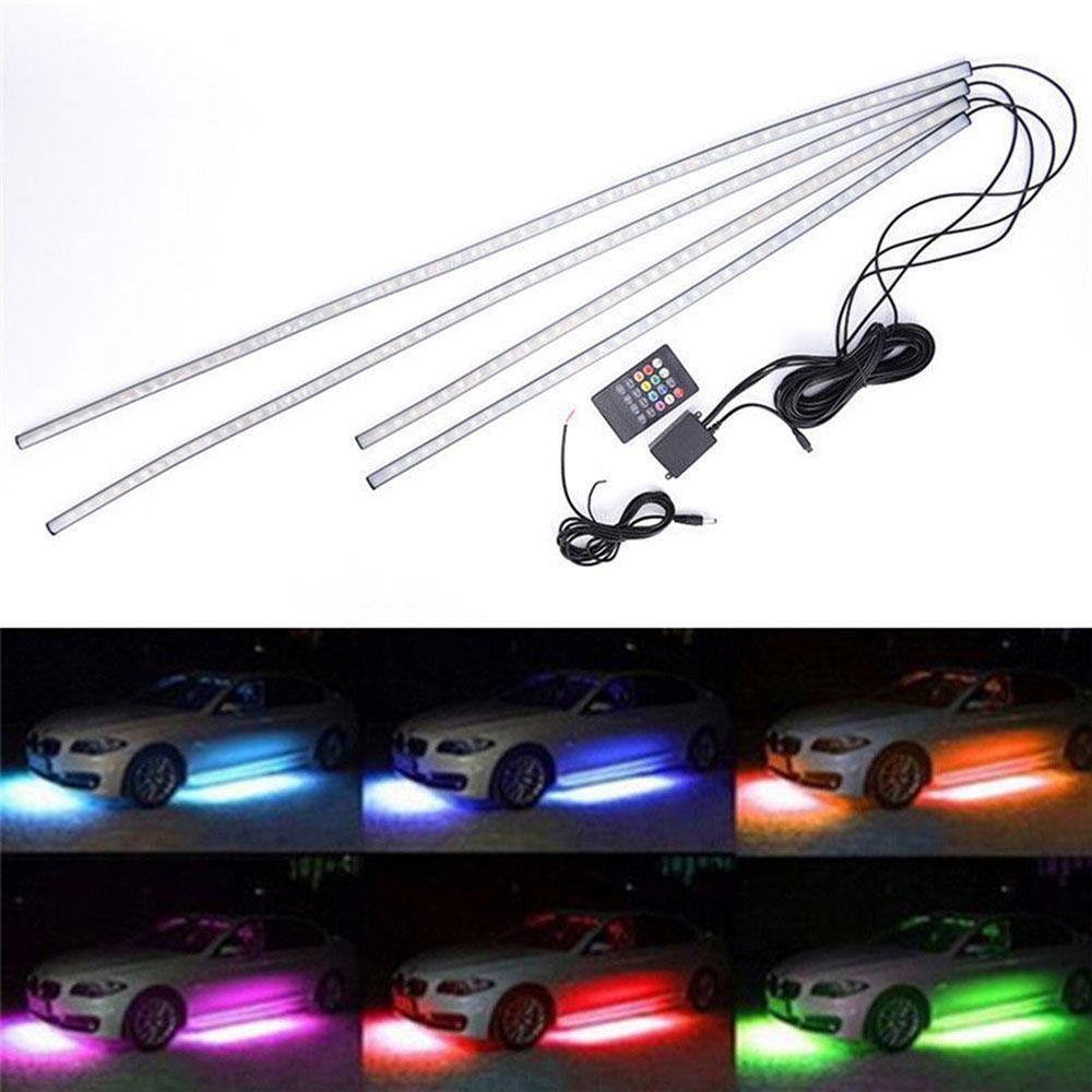 4X RGB LED Under Car Tube Strip Underbody Glow Neon waterproof Light Kit Wireless Voice Control Auto Styling Car accessoriess