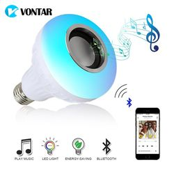 VONTAR E27 B22 Беспроводной Bluetooth Динамик + 12 Вт RGB лампа светодиодный светильник 110 В 220 умный светодиодный свет Музыка Аудио плеер с пультом дистан...