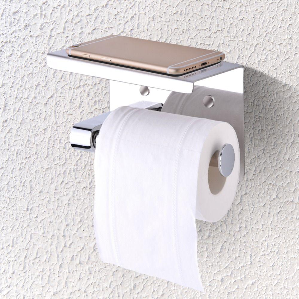 Wall Mounted Tissue Holder Stainless Steel Bathroom Toilet Paper Holder Bathroom Paper Phone Holder with Shelf Towel Rack