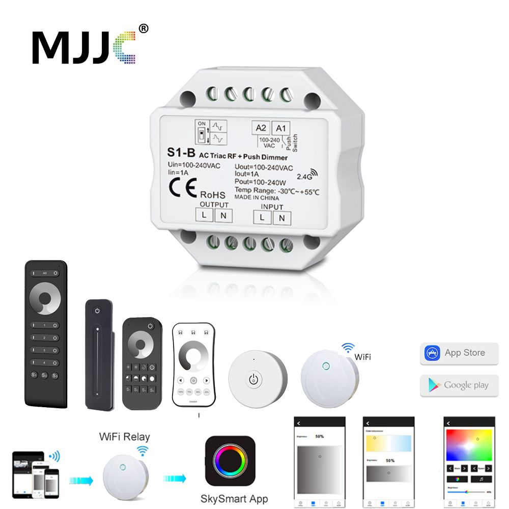 LED Dimmer Switch Triac AC 220V 230V 110V 2.4G Wireless RF Remote Dimmable Push Switch Smart Wifi Dimmer for LED Bulb Light Lamp