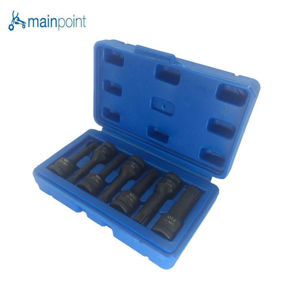 Mainpoint 3/8 stick Auswirkungen Spline Bit Steckschlüssel-satz 7 Stücke Cr-Mo M5 M6 M8 M9 M10 M12 M14 Long Black Auswirkungen Buchse Bits Werkzeuge