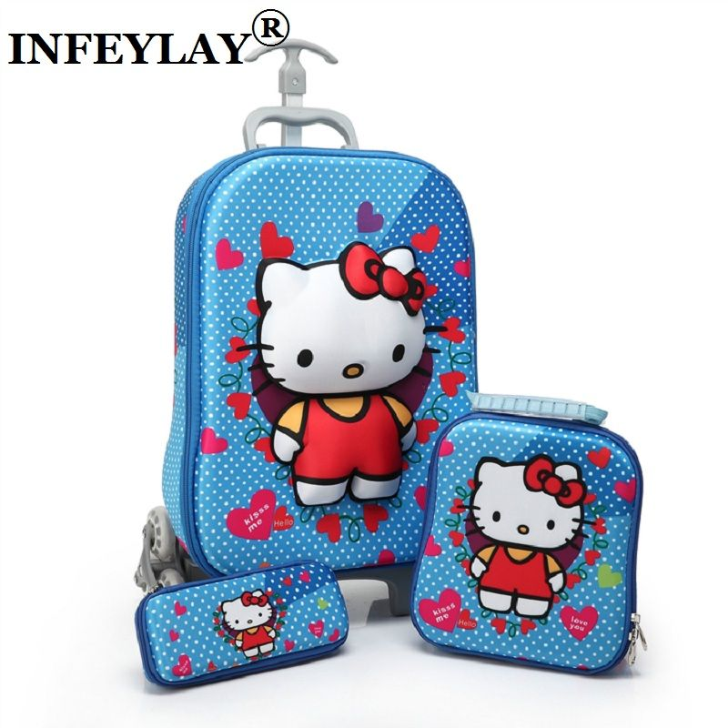 3D stereo trolley case Cute hello kitty anime kids Travel suitcase girl cartoon luggage EVA pencil box children Christmas gift