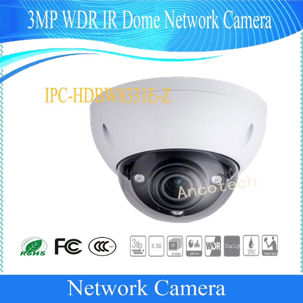 Free Shipping DAHUA 3MP HD Ultra WDR Network Vandal-proof IR Dome Camera IP67 with POE without Logo IPC-HDBW8331E-Z