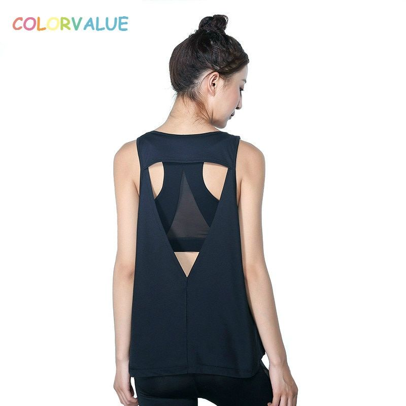 Colorvalue Loose Sport Tank Tops Women Hollow Out Yoga Top Shirts Sleeveless Quick Dry Running Fitness Vest Gym Sportswear