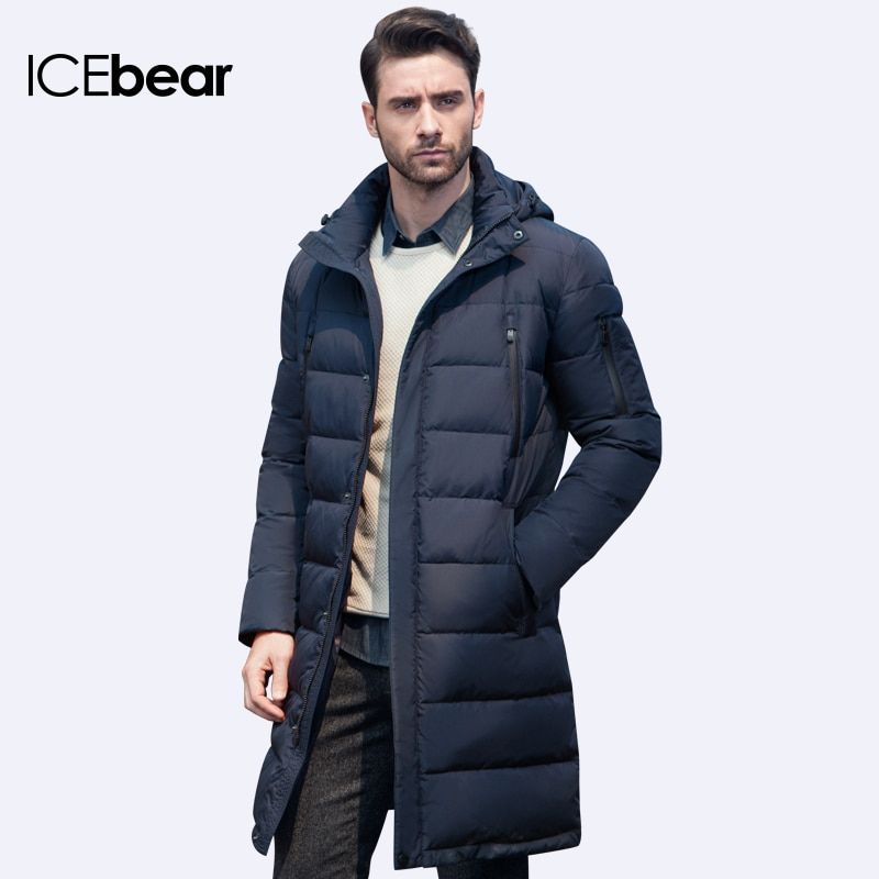 ICEbear 2017 New Clothing Jackets Business Long Thick Winter Coat Men Solid Parka Fashion Overcoat Outerwear 16M298D