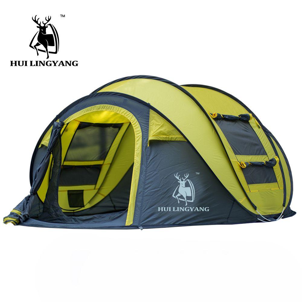 HUILINGYANG 3-4 personnes monocouche grand espace automatique ouvert jeter pop up coupe-vent imperméable plage camping tente