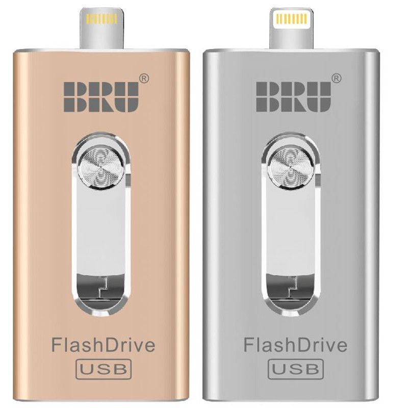Clé USB BRU OTG 8GB16G32G64G128G256GB pour iPad iPhone 5 S/6/6 S/7/7 plus/8/X/XS/XR 3in1 clé USB USB USB