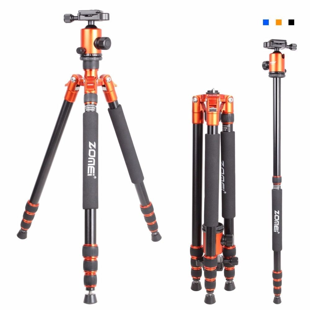 Zomei Z818 Portable Professional Aluminum Travel Camera Tripod with quick release plate monopod flexible tripod legs