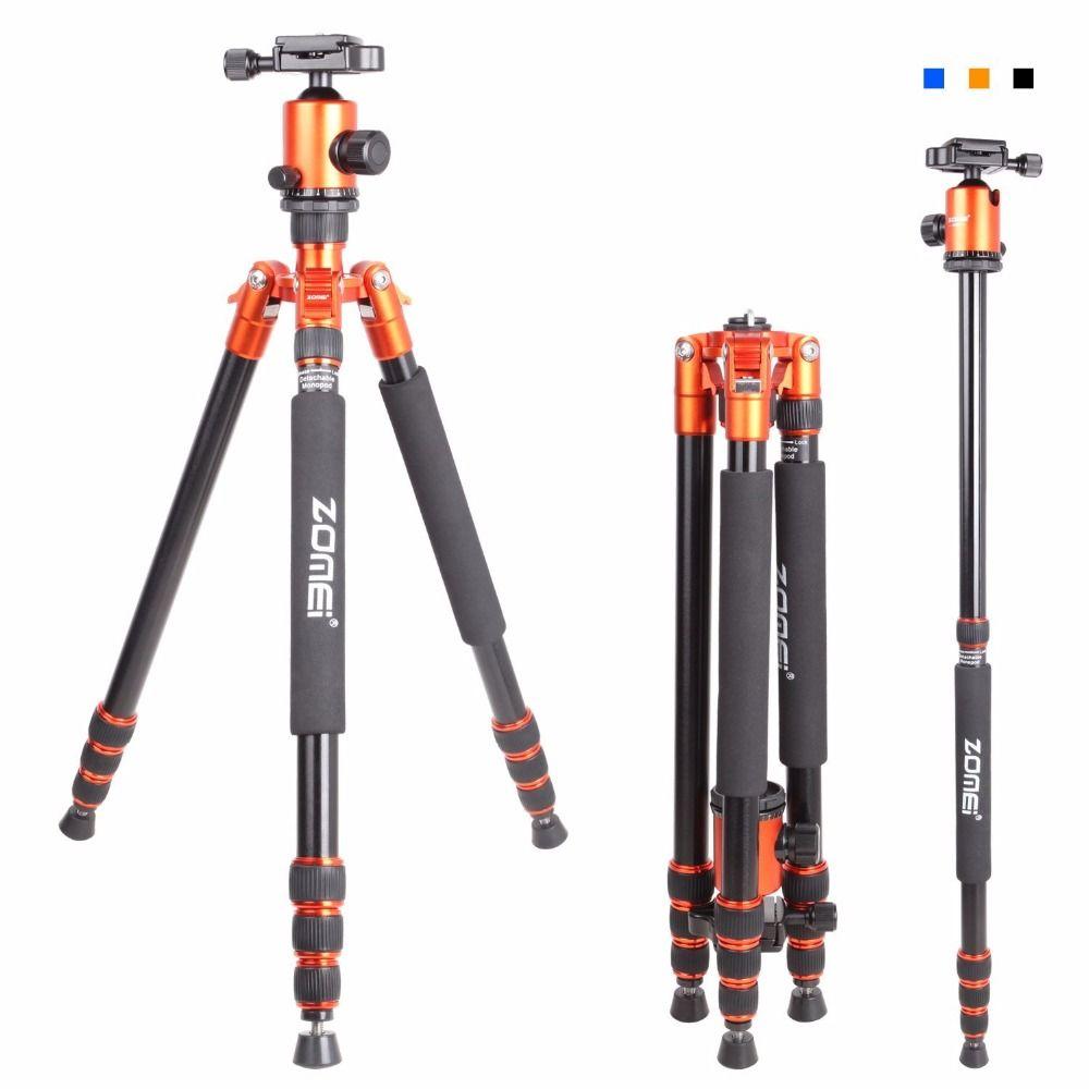Zomei Z818 Portable Professional Aluminum Travel Camera Tripod with quick release plate monopod flexible tripod legs