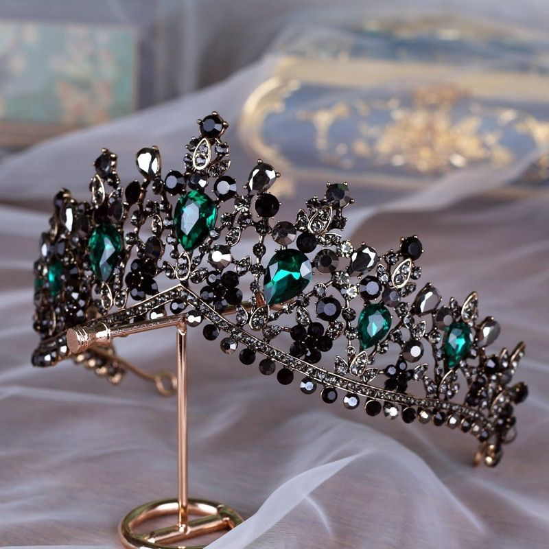 Baroque Bronze Black Green Crystal Bridal Tiaras Crown Vintage Rhinestone Diadem for Brides Headbands Wedding Hair Accessories