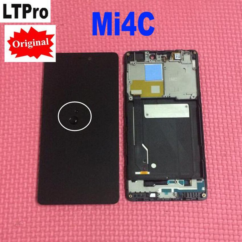100% Original New Tested Working LCD Display Touch Screen Digitizer Assembly with Frame For Xiaomi Mi4c Mi 4c M4c Phone Parts
