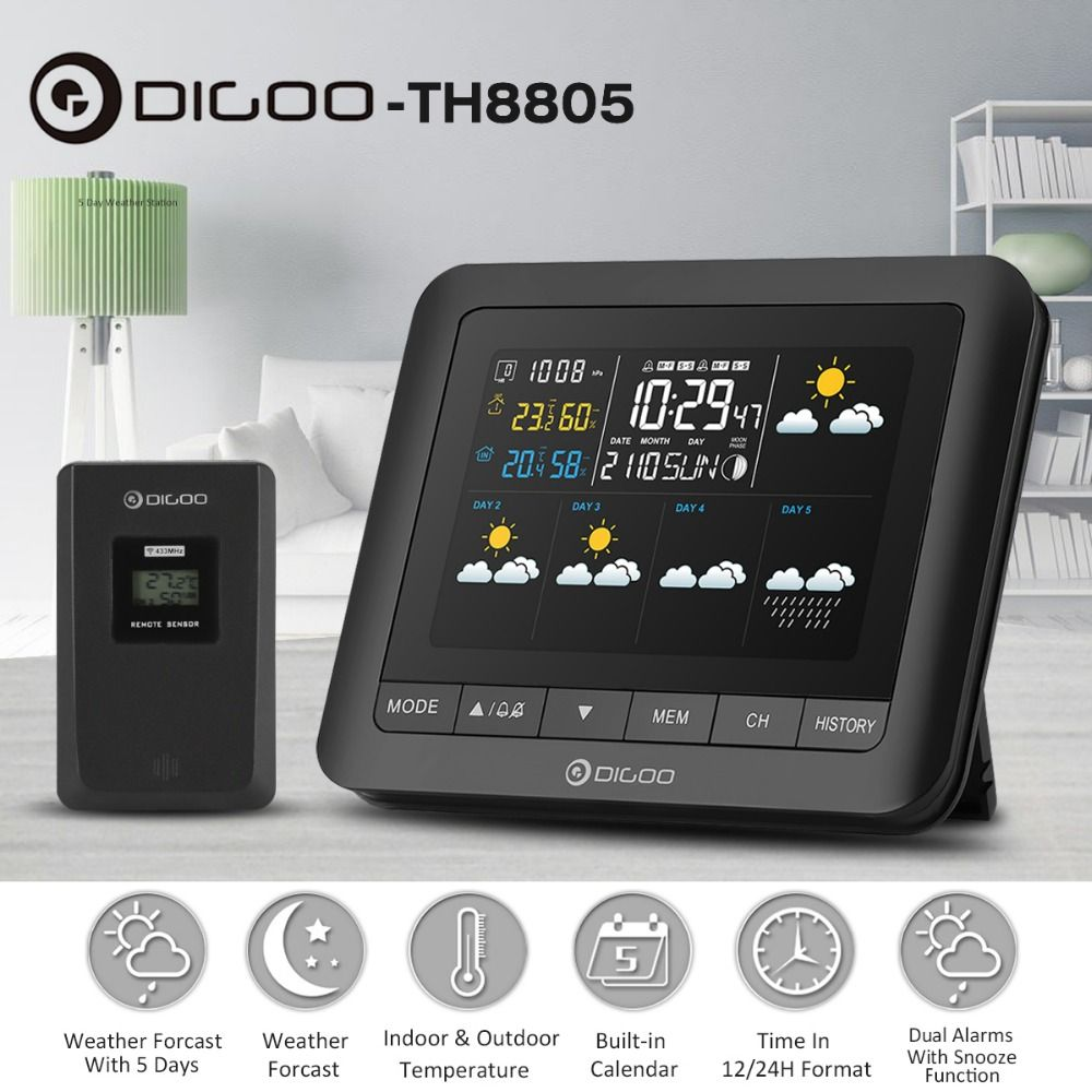 Digoo DG-TH8805 Wireless Weather Station Full-Color Screen Digital Barometric Hygrometer Humidity Thermometer with Sensor Clock