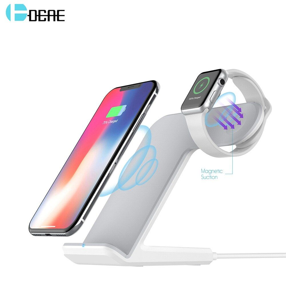 DCAE 2 in 1 Charging Dock Station Bracket Cradle Stand Holder Qi Wireless Charger For iPhone XS Max XR X 8 For Apple Watch 4 3 2