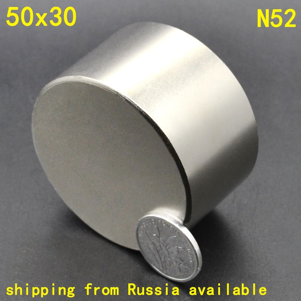 1Pcs N52 50 x 30 Permanent Round Magnet 50*30 50mm x 30mm Big Super Strong Powerful Neodymium Magnet