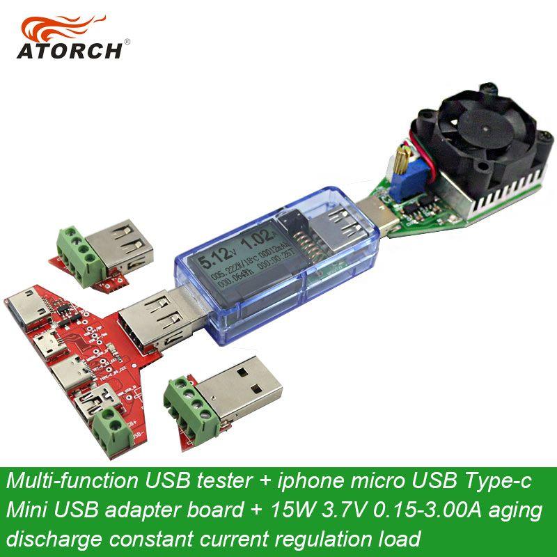 ATORCH USB testeur DC Numérique voltmètre + iphone micro USB Type-c Mini carte adaptateur + usb charge DC électronique décharge résistance