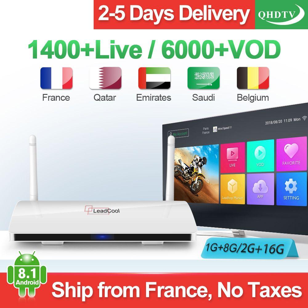Leadcool IPTV France Android IPTV récepteur RK3229 Original Leadcool QHDTV 1 an IPTV belgique pays-bas France arabe IP TV