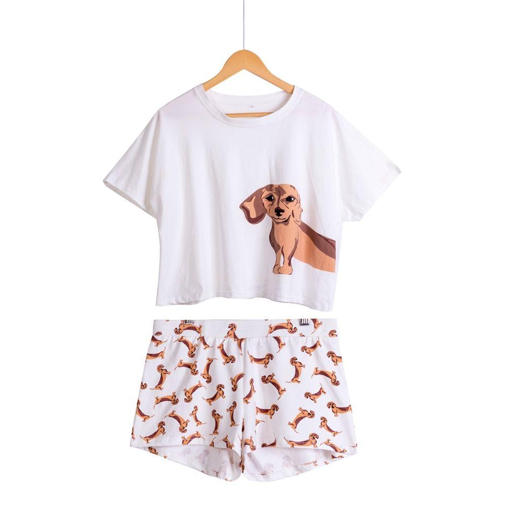 Mignon Femmes Pyjamas De Nuit Teckel Imprimer Chien 2 pièces Set Top À Manches Courtes Taille Élastique Shorts Plus La Taille Pyjamas S75605 L