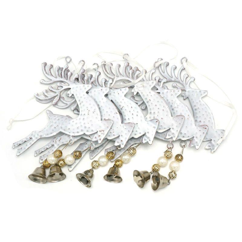 Renne de noël décoration 6 pcs blanc renne cloche en métal tenture 3.9in pour la maison élans De Noël décor arbre décorations