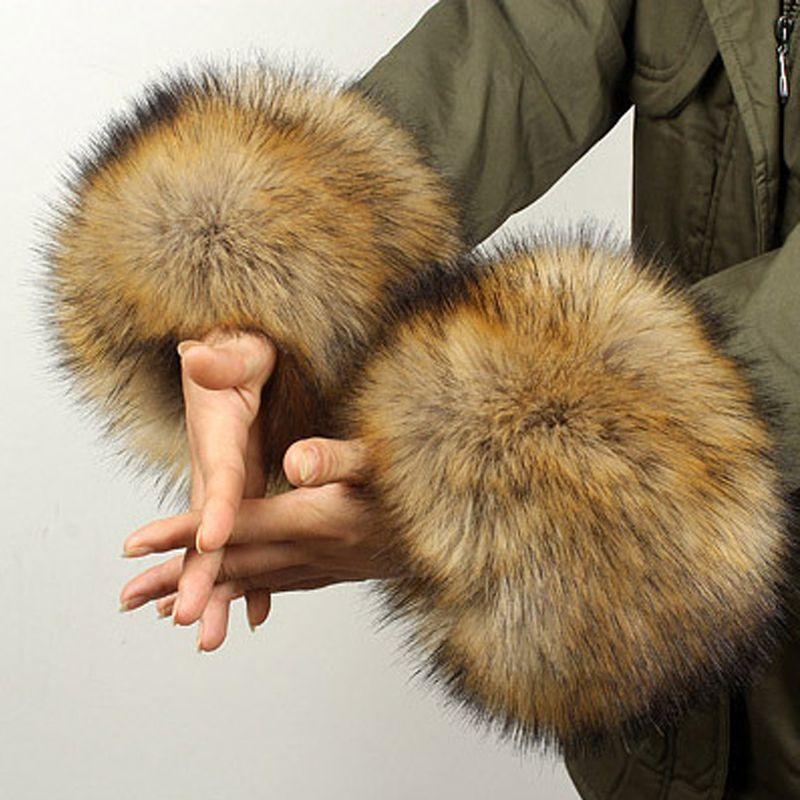 YNZZU 2016 New Arrivals Women Winter Warm Hairy cuff Faux Raccoon Fur Women Clothing Accessories faux fur wrist cuff YA002