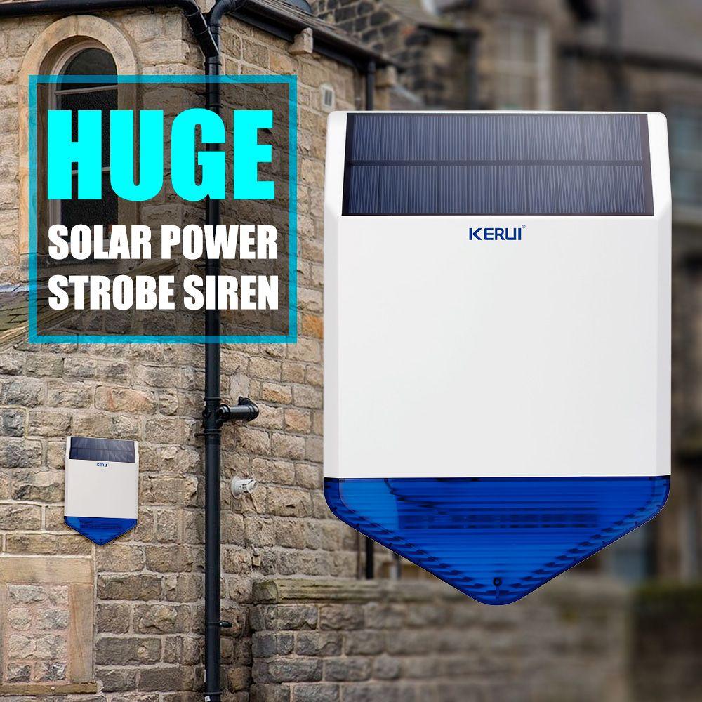 Panneau de sirène solaire extérieur sans fil d'origine KERUI KR-SJ1 pour la sécurité du système d'alarme KERUI avec son de réponse clignotant