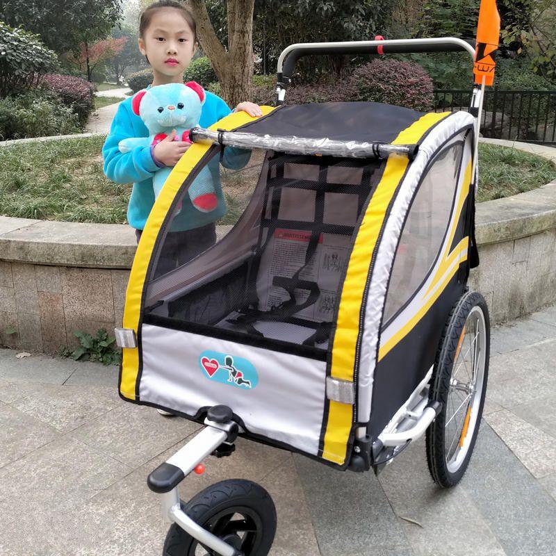 20 zoll Aufblasbare Rad und Aluminium Rahmen 2 in 1 Baby Jogger Fahrradanhänger, starke Shock Proof Kinderwagen Mit Doppelbremse