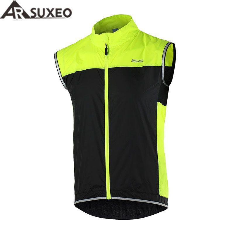ARSUXEO Radfahren Weste Winddicht Wasserdicht MTB Fahrrad Atmungs Reflektierende Kleidung Radfahren Jacke Sleeveless 15V1