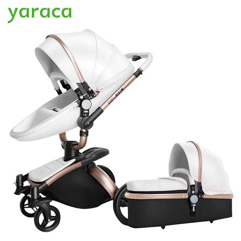 2 in 1 Luxus Kinderwagen Mit Separaten Carrycot Schwarz Rahmen 360 Grad-umdrehung Kinderwagen High-landschaft Kinderwagen für Neugeborene