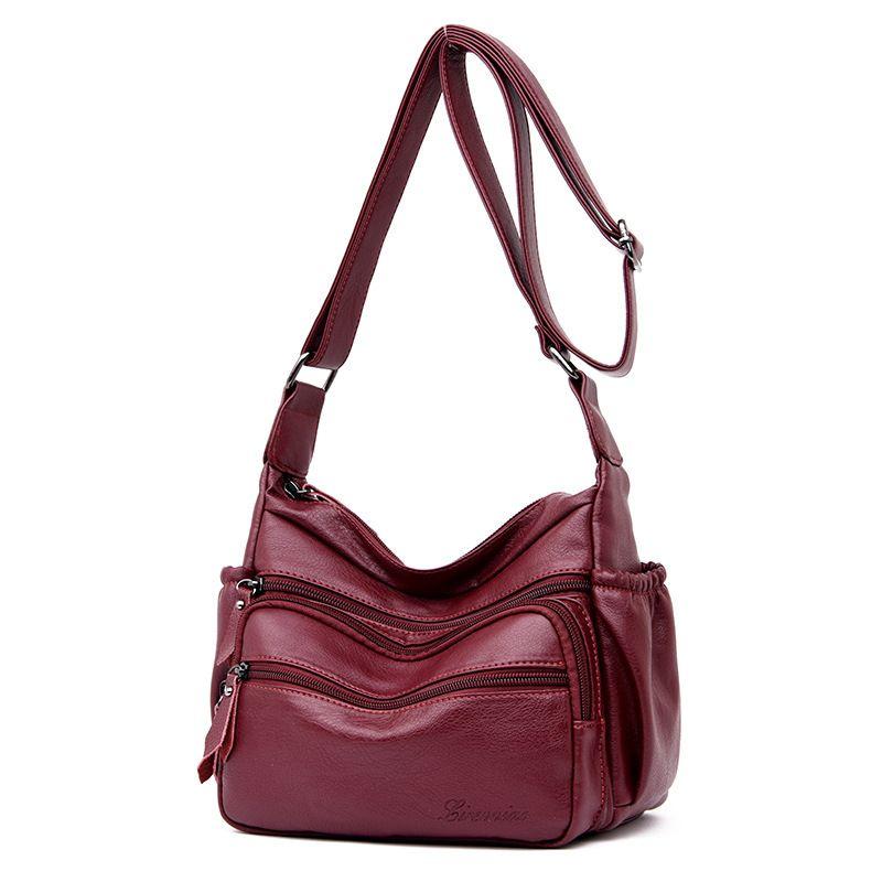Neue 2019 neue wasser tasche Europäischen und Amerikanischen mode eine schulter leder tasche dray red zipper crossbody-tasche