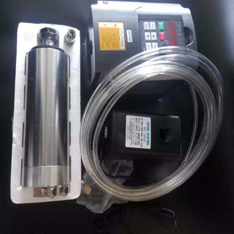 2.2kw spindle kit 220v 80mm 2200w CNC milling spindle motor+2.2kw inverter+80mm spindle clamp+75w pump+5m pipes+13pcs ER20