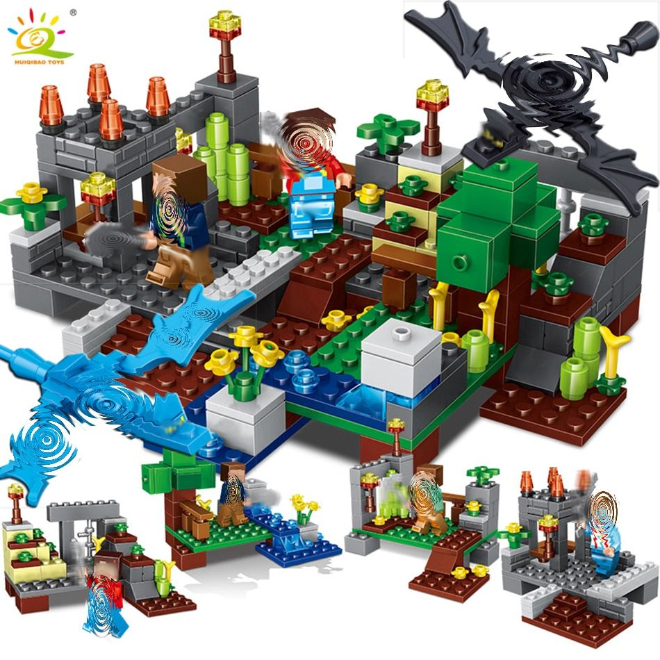 4 in 1 Town group Compatible Legoingly Minecrafted <font><b>city</b></font> Building Block dragon Steve figures Bricks Educational toys for children