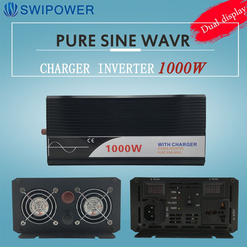 ups inverter 1000W pure sine wave inverter with charger 12V 24V 48v DC to AC 220V 230V 240v solar power inverter