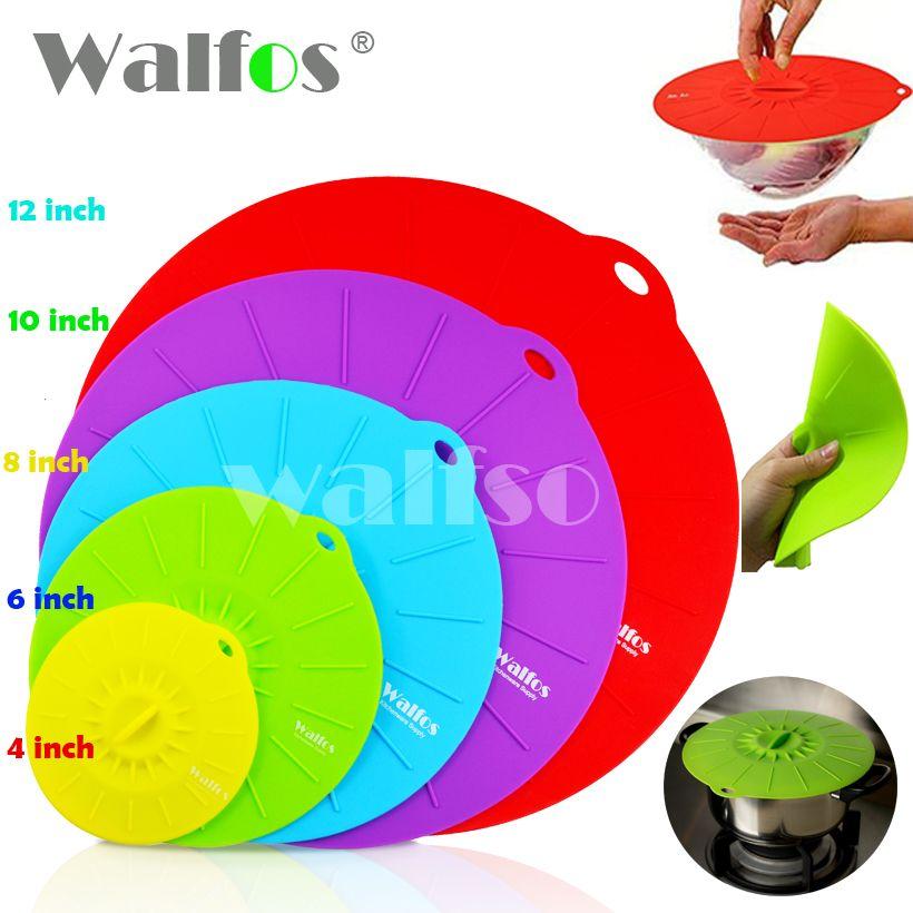 WALFOS 5 pièces couvercle universel d'aspiration en Silicone-bol casserole couvercle de marmite-couvercle en Silicone couvercle de couvercle de couvercle de déversement de casserole de cuisine