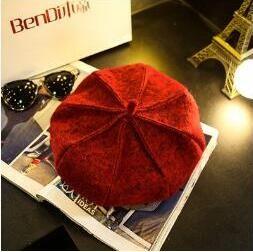 2018 franTui, brandi s k1-k3 The autumn winter British wool bud cap female painter Korean black Newsboy Hat pumpkin star Bailey