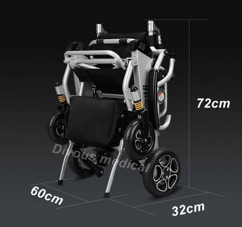 Kostenloser versand Klapp Smart stuhl tragbare leichte power elektrische rollstuhl mit bürstenlosen motor lithium-batterie