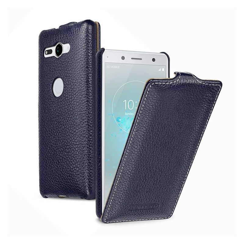 Business Flip Phone Case for Fundas Sony Xperia XZ2 5.7inch Luxury Genuine Leather Bag Cover for Sony XZ2 Compact 5.0 capa Skin