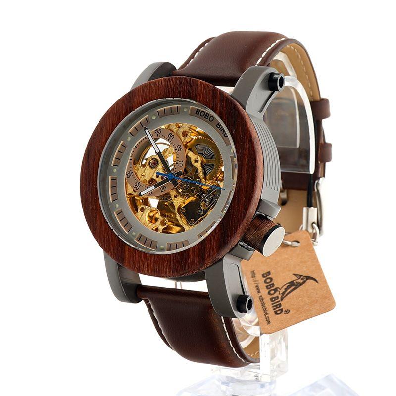 BOBO OISEAU K12 Automatique Mécanique Montre Classique Style De Luxe Hommes Analogique Montre-Bracelet Bambou En Bois Avec Acier en Cadeau Boîte En Bois