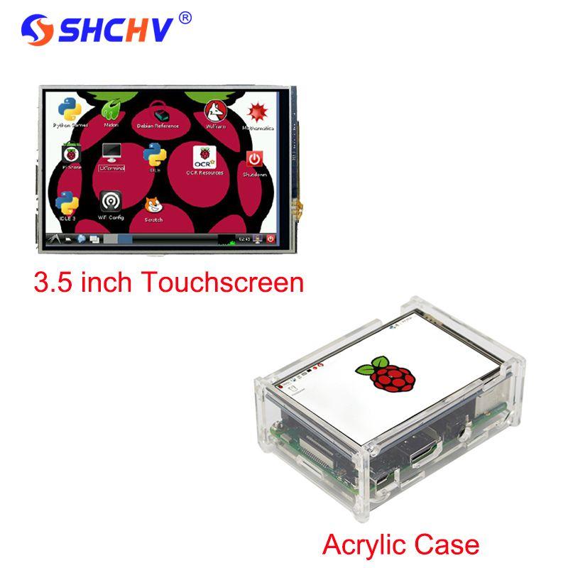 2017 Raspberry Pi 3 Modèle B 3.5 pouce LCD TFT Tactile écran D'affichage + Stylus + Acrylique Cas Compatible Framboise Pi 2 Livraison Gratuite