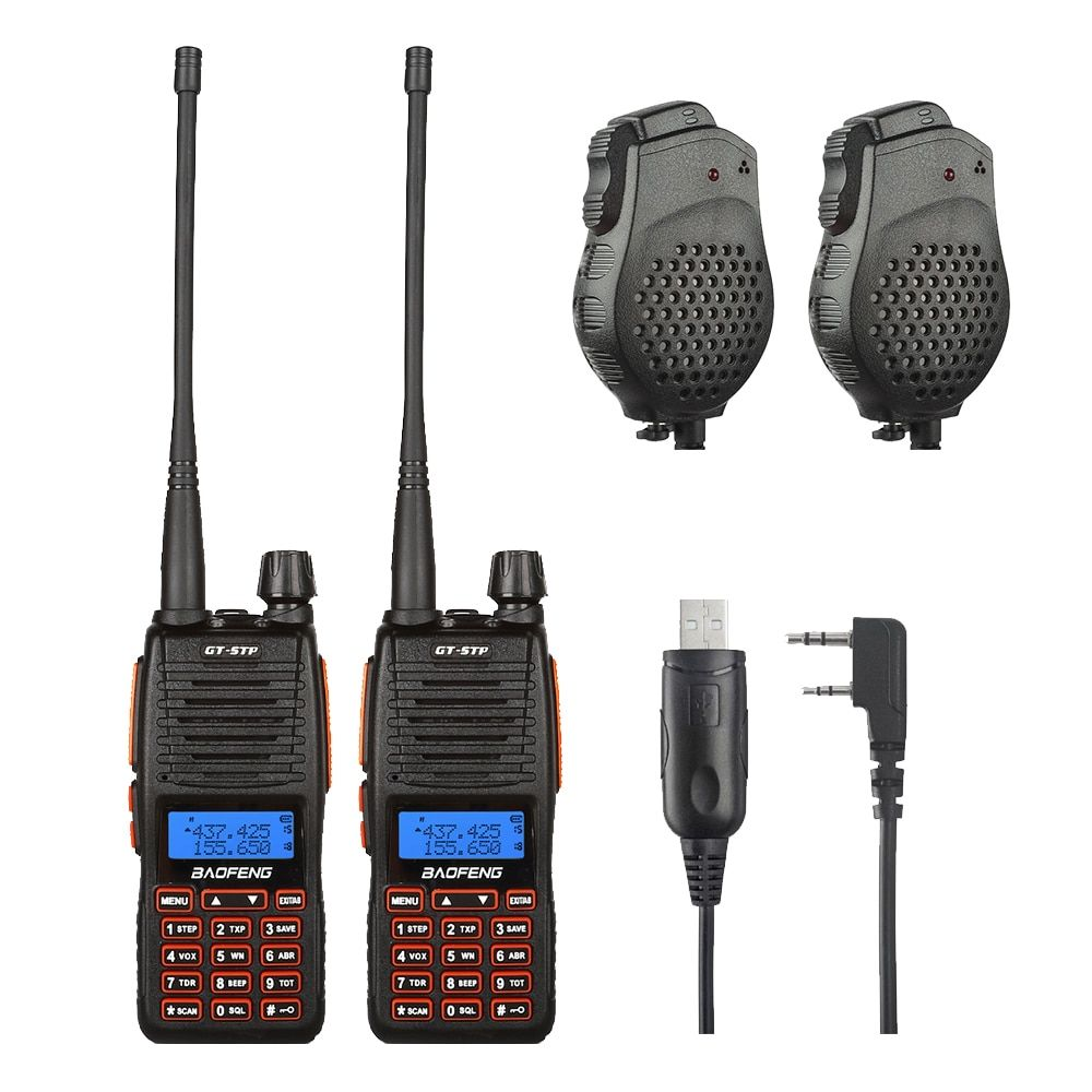 2pcs Baofeng GT-5TP VHF/UHF Dual Band Ham Walkie Talkie Two Way Radio with Dual PTT Speaker Win10 Supported Cable 1/4/8W