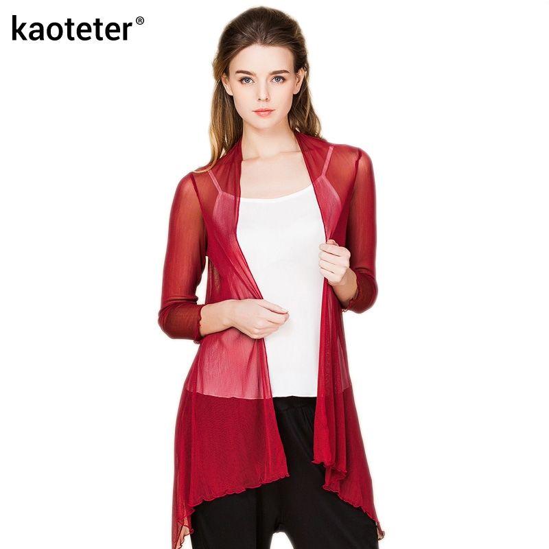 100% pur soie fil femmes châle Blouses femme mince Transparent vêtements femmes climatisation chemise solide à manches longues femme