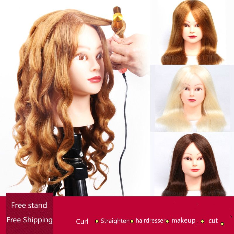 professional hair styling head manikin head with human hair hairdressing mannequins 85%real hair mannequin head hairdresser head