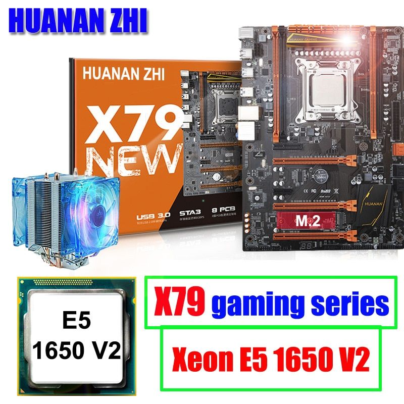 Computer hardware HUANAN ZHI deluxe X79 LGA2011 gaming motherboard with M.2 slot CPU Intel Xeon E5 1650 V2 3.5GHz with cooler