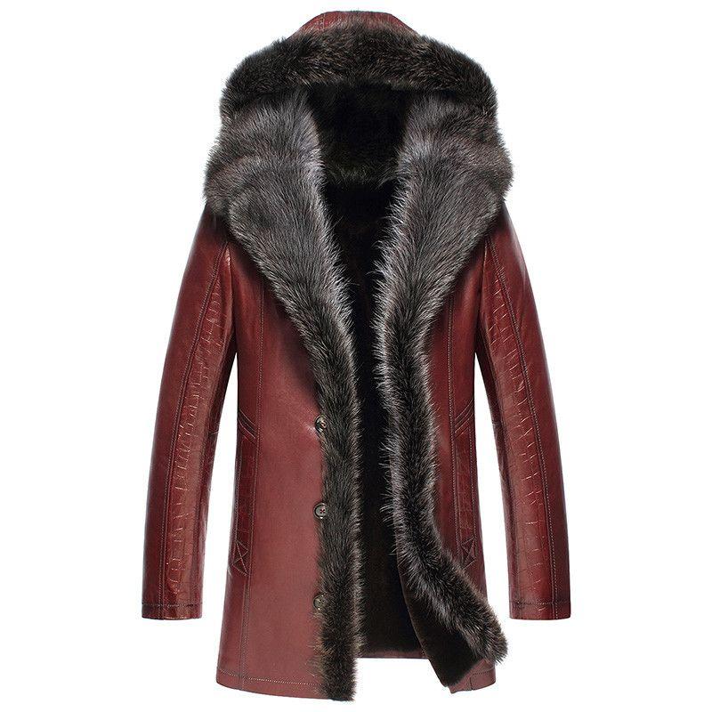Echtes Leder Jacke Winter Jacke Männer Echt Waschbären Pelz Kragen Schaffell Mantel für Männer Wolle Pelz Liner Jacken Plus Größe MY1776