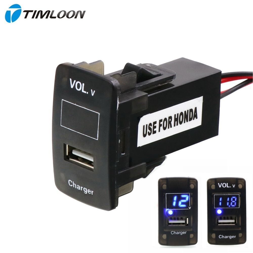 5V 2.1A USB Interface Socket Car Charger and Voltage Meter Battery Monitor Use for Honda,Civic,Spirior,CRV,Fit Jazz,City,Accord