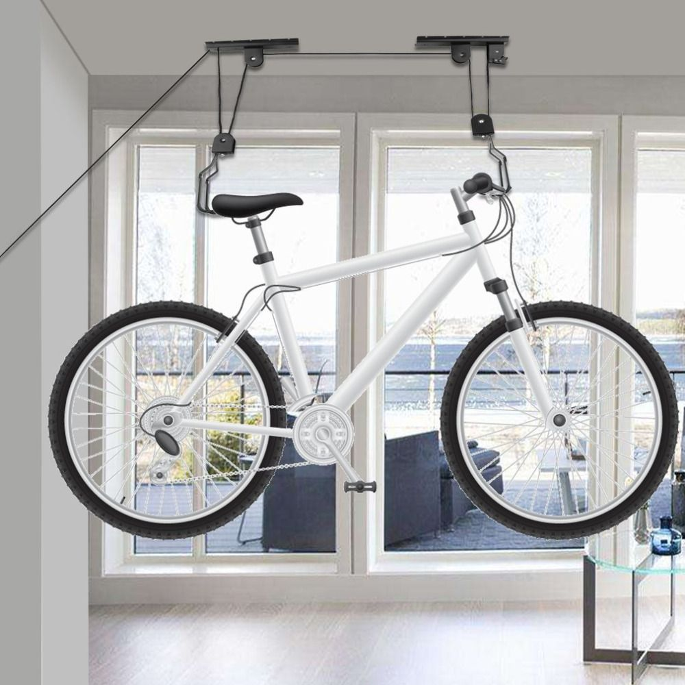 Bike Lift Ceiling Mounted Hoist Bicycle Display Stand Parking Storage Hanger Rack Bike Pulley Rack Bicycle Assemblies