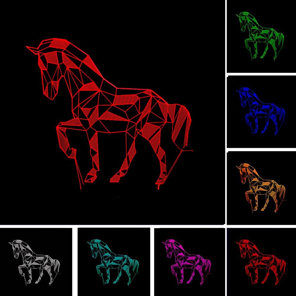 New Stylish Christmas New Year Gifts 7 Colors Changing Animal Luces Navidad Horse Night Lights 3D LED Kid Visual Atmosphere Lamp