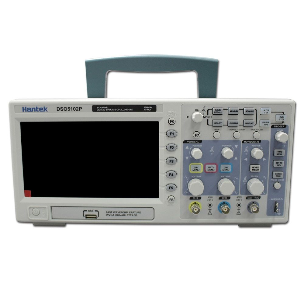 Hantek DSO5102P Digital Oscilloscope Portable 100MHz 2Channels 1GSa/s Record Length 40K USB LCD Handheld Osciloscopio 7 Inch