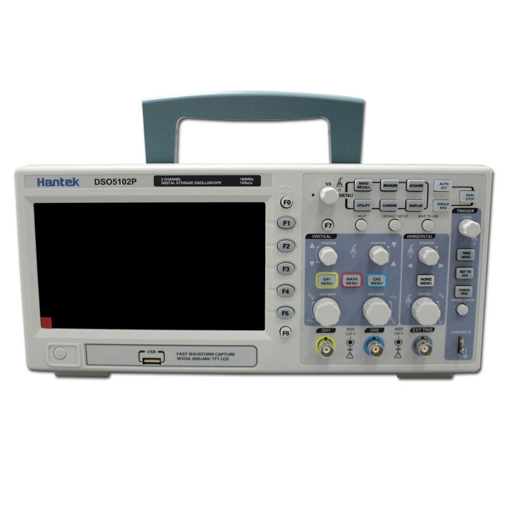 Hantek DSO5102P Digital Oscilloscope Portable 100MHz 2Channels 1GSa/s Record Length 40K USB LCD Handheld Osciloscopio 7 Inch