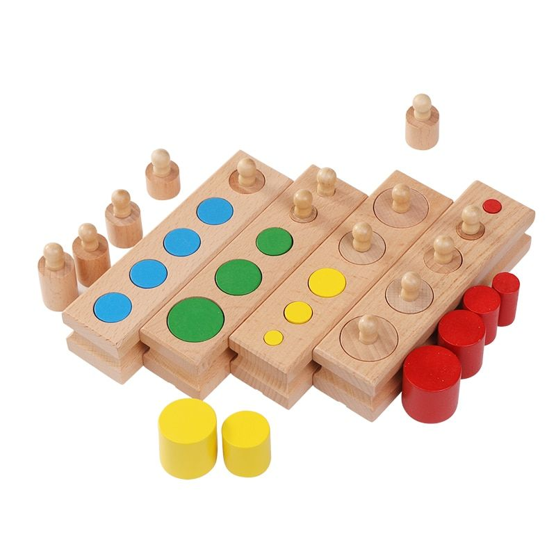 En bois Montessori éducation cylindre douilles bloc jouets bébé développement pratique et sensoriel ensemble famille jouets